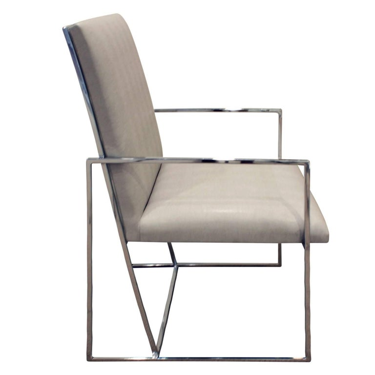 American Milo Baughman Set of Six Dining Chairs with Angled Backs, 1970s For Sale