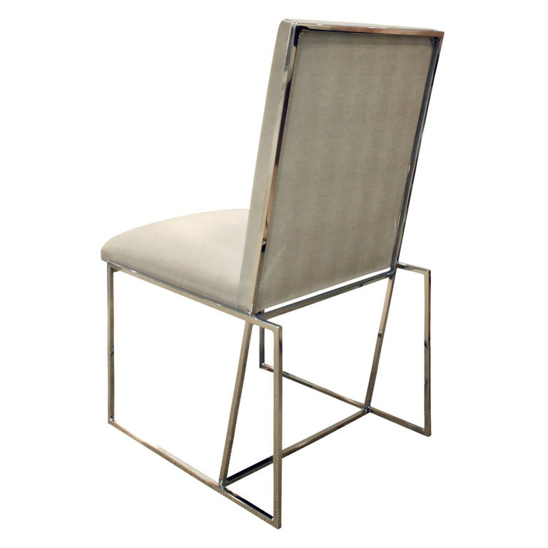 Milo Baughman Set of Six Dining Chairs with Angled Backs, 1970s In Excellent Condition For Sale In New York, NY