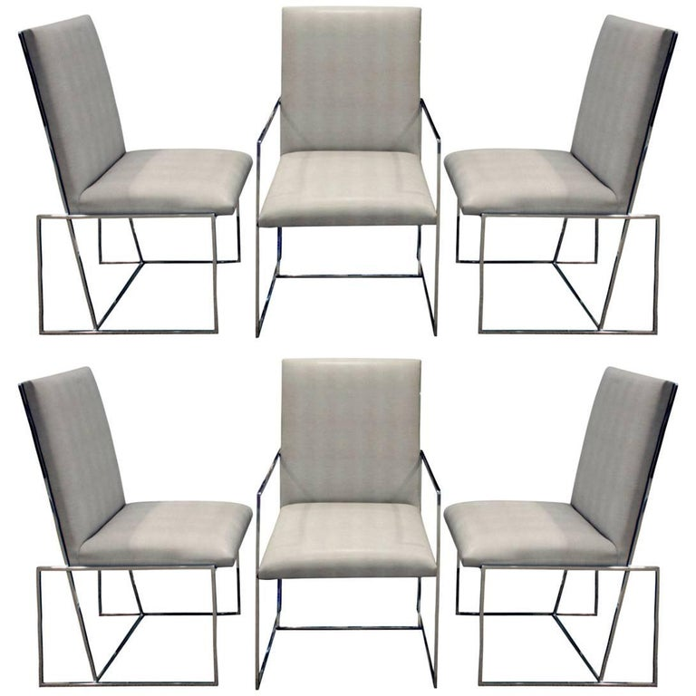 Milo Baughman Set of Six Dining Chairs with Angled Backs, 1970s For Sale