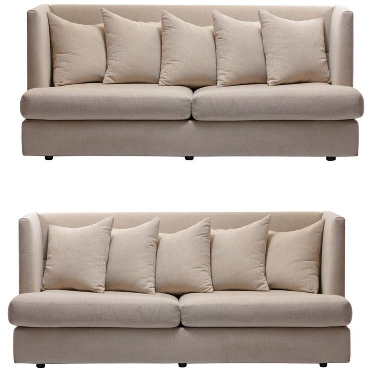 Milo Baughman Ivory /  Beige Shelter Sofa (Pair Available; Priced Individually) For Sale