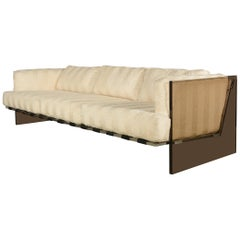 Milo Baughman Smoked Bronze Lucite and Chrome Sofa