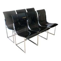Milo Baughman Smokey Lucite Dining Chairs, Thayer Goggin
