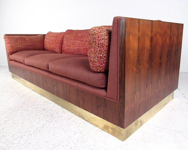 Mid-Century Modern Milo Baughman Sofa with Rosewood Frame For Sale
