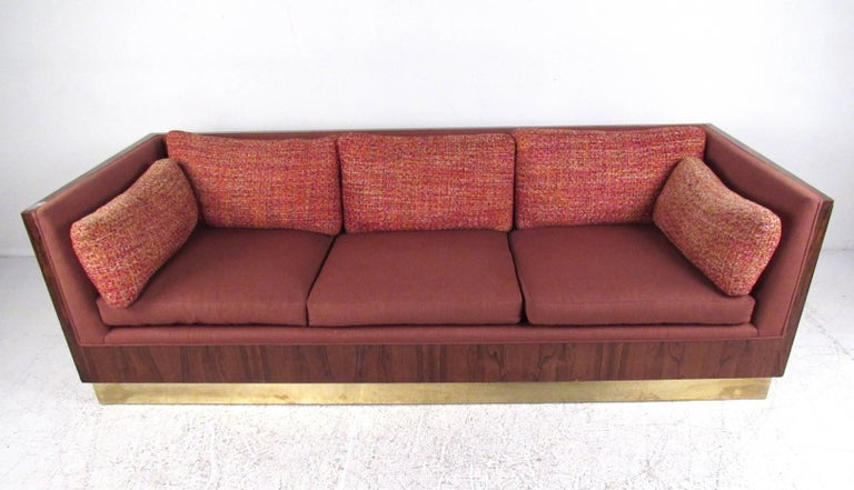 Mid-20th Century Milo Baughman Sofa with Rosewood Frame For Sale