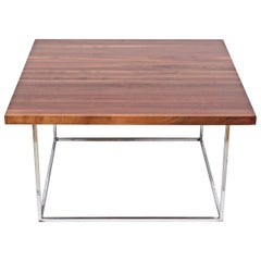 Milo Baughman Solid Black Walnut and Chrome Square Coffee Table, circa 1970