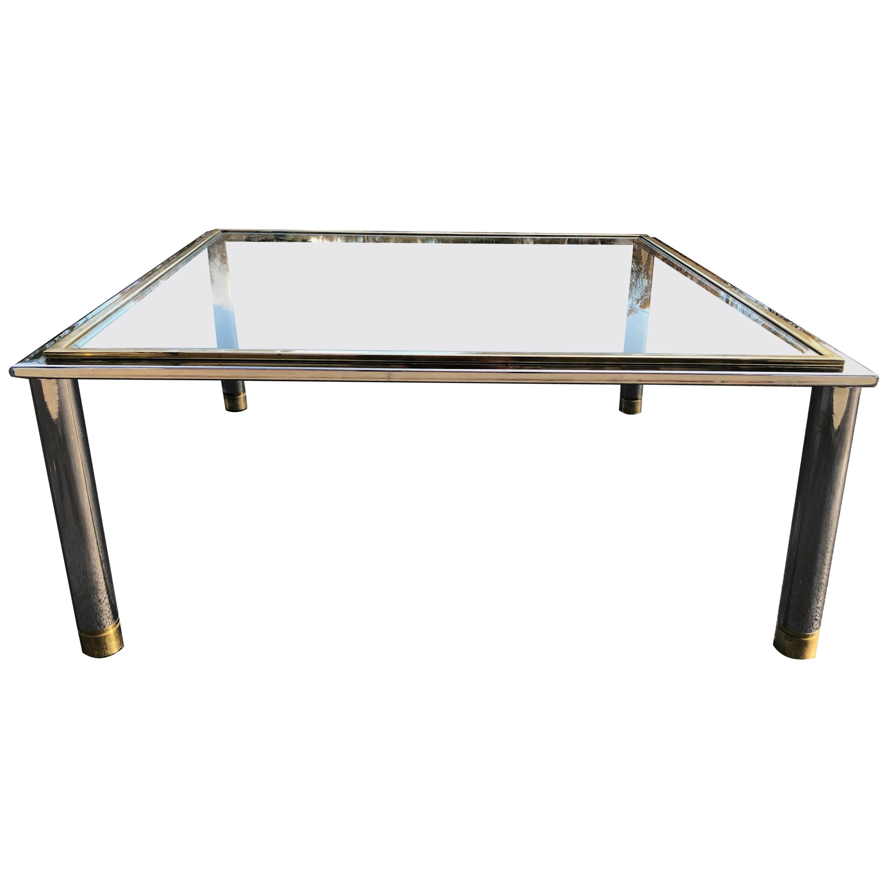 Square Brass and Chrome Coffee Table