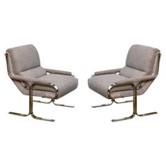 Milo Baughman Stainless Steel and Upholstered Lounge Chairs