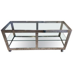 Milo Baughman Stainless Steel Low Console on Casters
