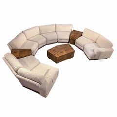 Milo Baughman Style 11-Piece Modern Curved Sectional Sofa Couch & End Tables Set