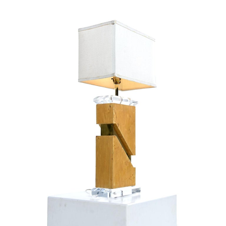 Brass Milo Baughman Style 1970s Burl Table Lamp with Lucite and Gold Accents For Sale