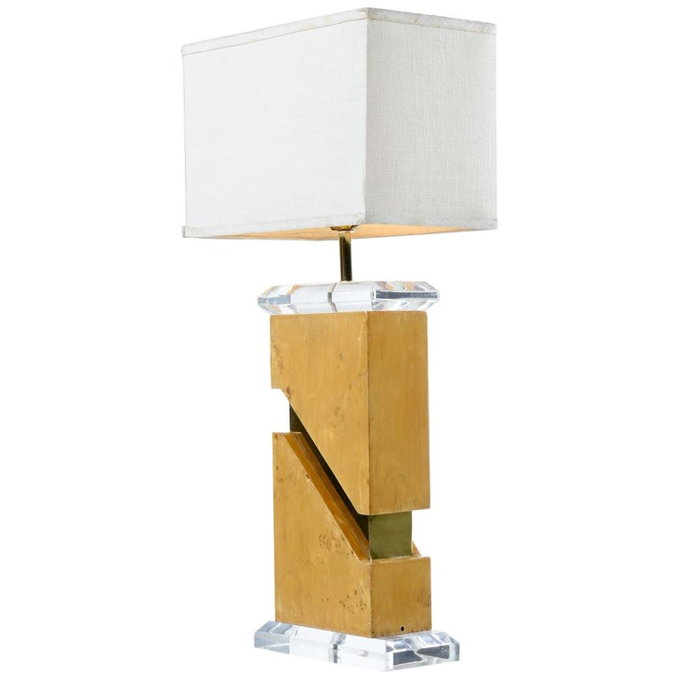Milo Baughman Style 1970s Burl Table Lamp with Lucite and Gold Accents For Sale