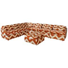 Milo Baughman Style 7-Piece Pit Group Orange Velour Chevron 1970s Modular Sofa