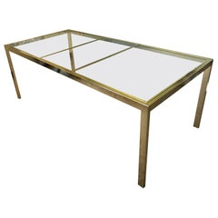 Milo Baughman Style Adjustable Brass Dining Table
