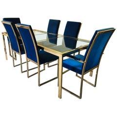Milo Baughman Style Adjustable Brass Dining Table Set