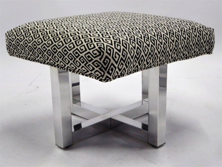 Mid-Century Modern Milo Baughman Style Bench Stools Polished Aluminum Upholstered For Sale