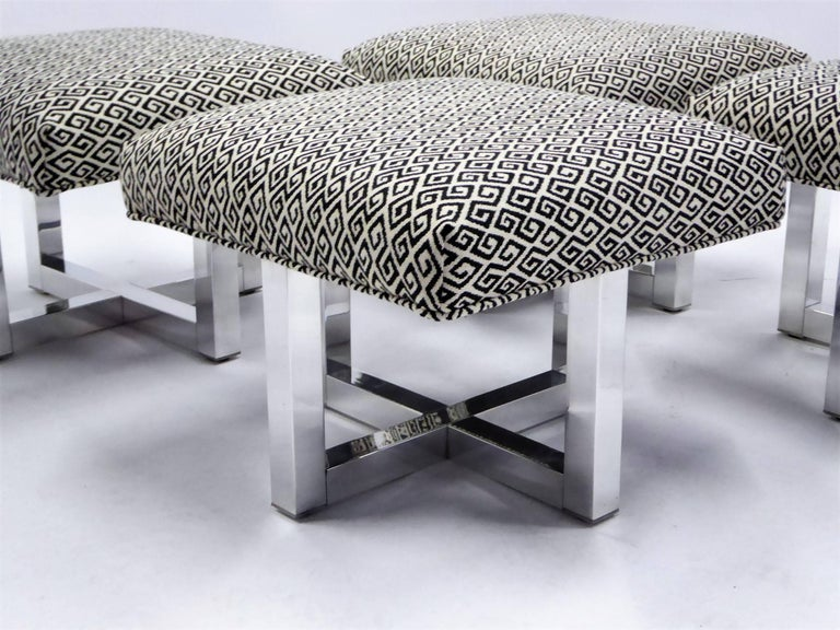 American Milo Baughman Style Bench Stools Polished Aluminum Upholstered For Sale