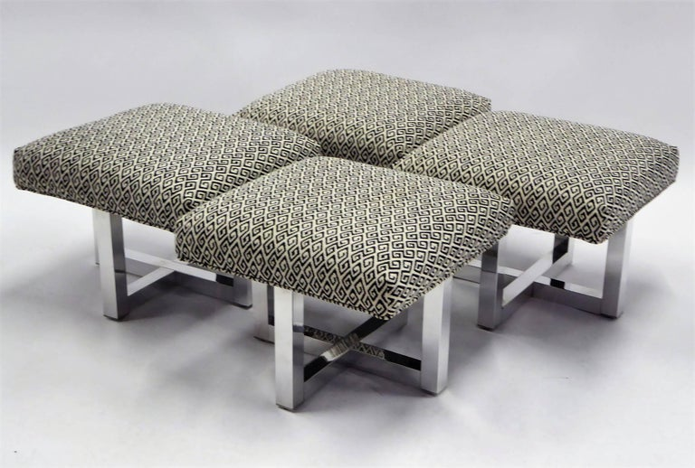 Milo Baughman Style Bench Stools Polished Aluminum Upholstered In Excellent Condition For Sale In Miami, FL