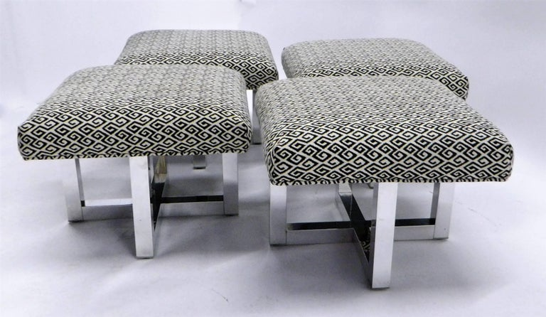 Mid-20th Century Milo Baughman Style Bench Stools Polished Aluminum Upholstered For Sale