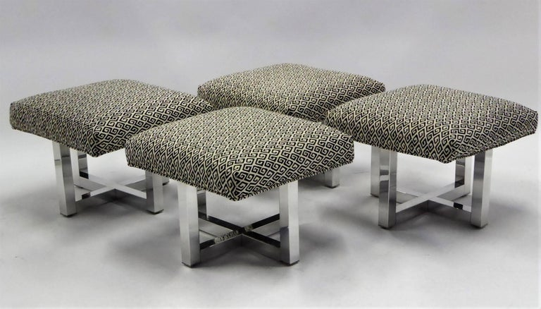 Upholstery Milo Baughman Style Bench Stools Polished Aluminum Upholstered For Sale