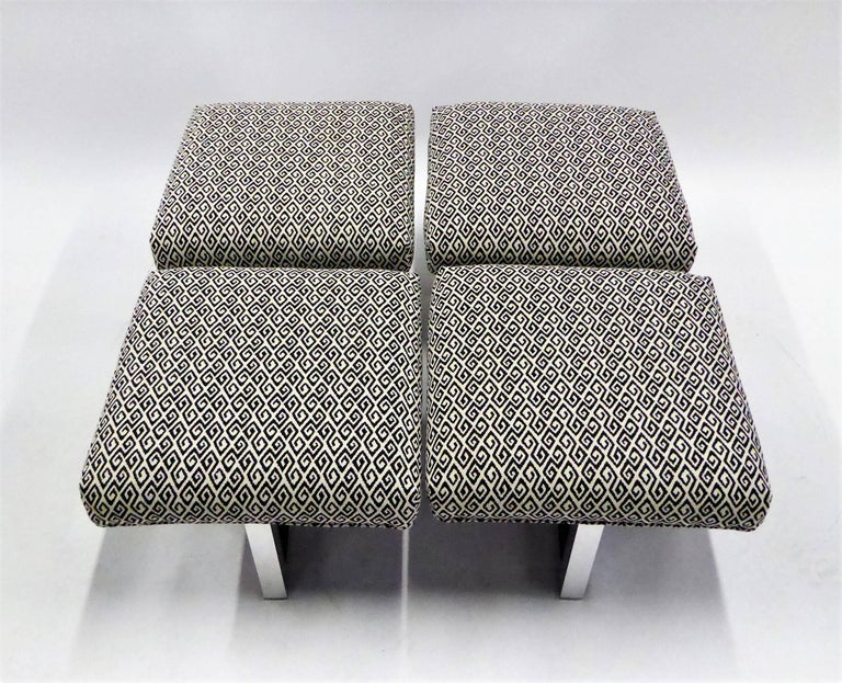 Milo Baughman Style Bench Stools Polished Aluminum Upholstered For Sale 1