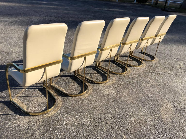 Hollywood Regency Milo Baughman Style Brass and Leather, Set of Chairs For Sale