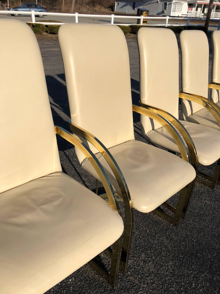 Milo Baughman Style Brass and Leather, Set of Chairs In Good Condition For Sale In Redding, CT