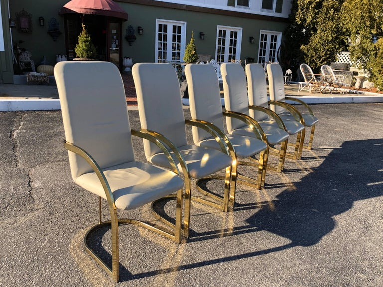 Late 20th Century Milo Baughman Style Brass and Leather, Set of Chairs For Sale