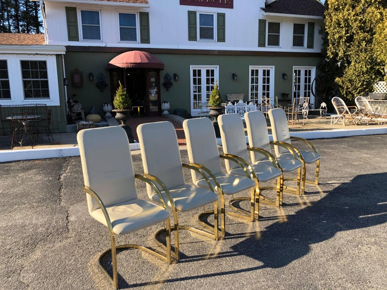 Milo Baughman Style Brass and Leather, Set of Chairs For Sale 3