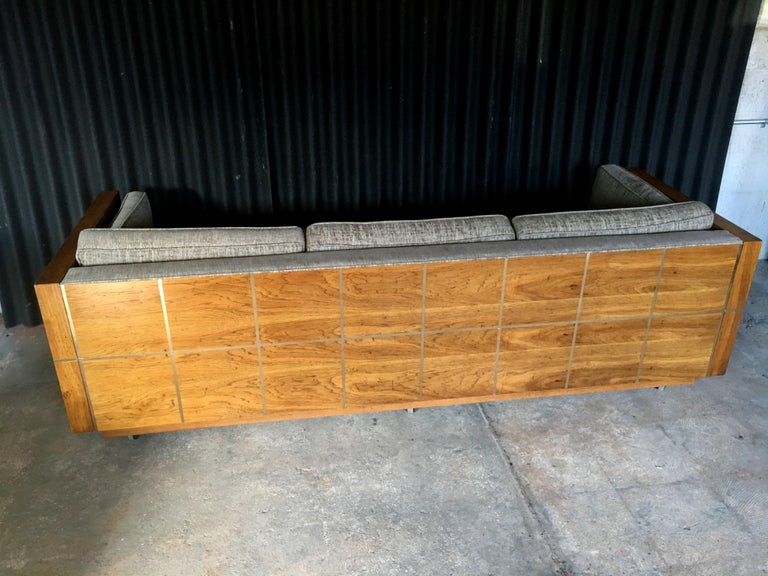 Milo Baughman Style Brass and Wood Case Sofa For Sale 4