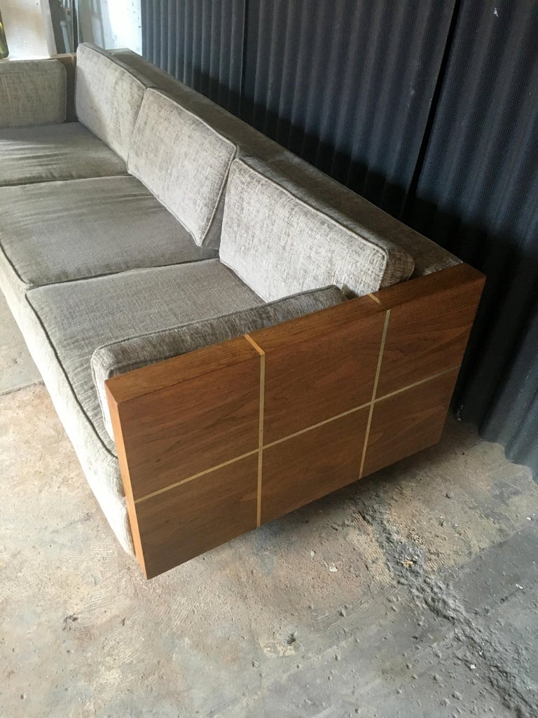 Milo Baughman Style Brass and Wood Case Sofa For Sale 7