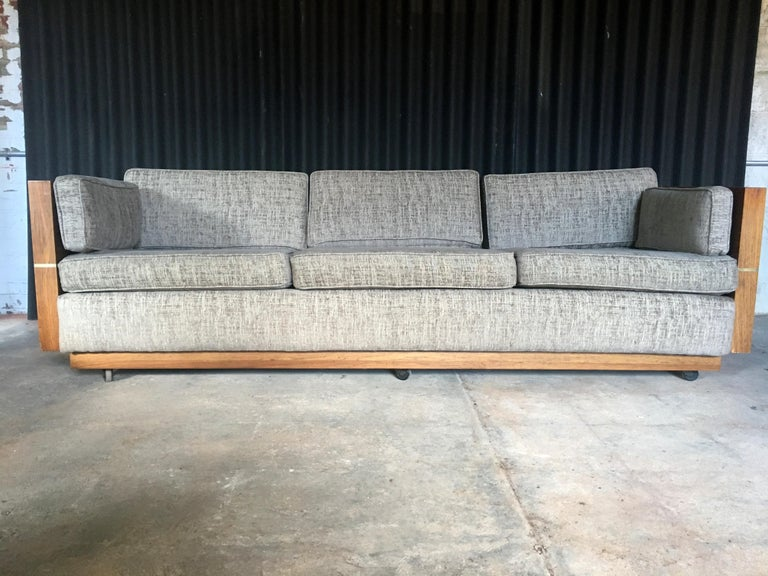 Milo Baughman Style Brass and Wood Case Sofa For Sale 11