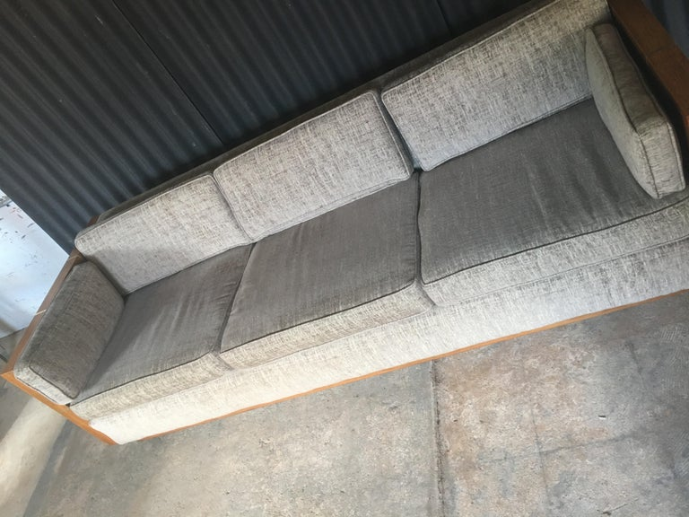 Incredible case sofa in the style of designer, Milo Baughman. This piece came to us in simply beautiful condition and was recently reupholstered in this clean and modern fabric. Fabric is in Fantastic condition with no signs of wear at all. One up