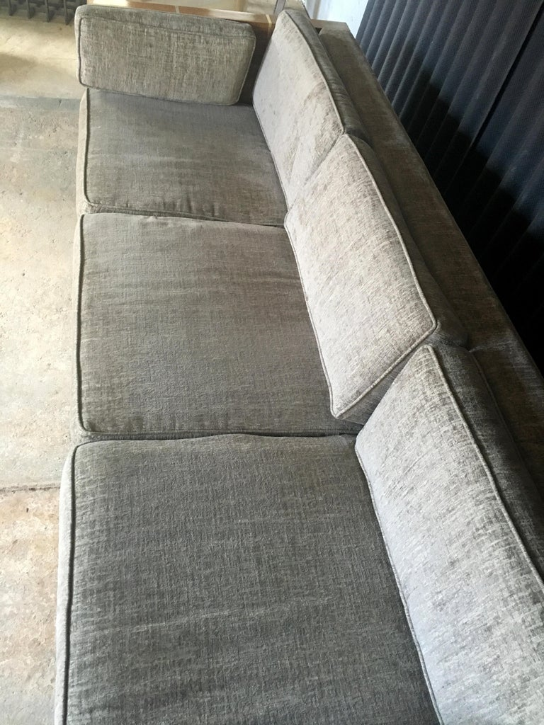 Mid-Century Modern Milo Baughman Style Brass and Wood Case Sofa For Sale
