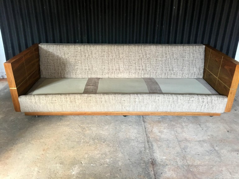 American Milo Baughman Style Brass and Wood Case Sofa For Sale