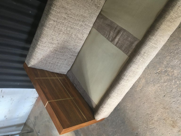Milo Baughman Style Brass and Wood Case Sofa In Excellent Condition For Sale In Southampton, NJ