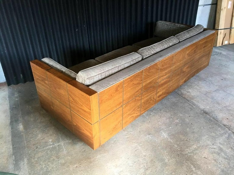 Milo Baughman Style Brass and Wood Case Sofa For Sale 3