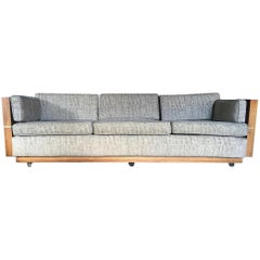 Milo Baughman Style Brass and Wood Case Sofa