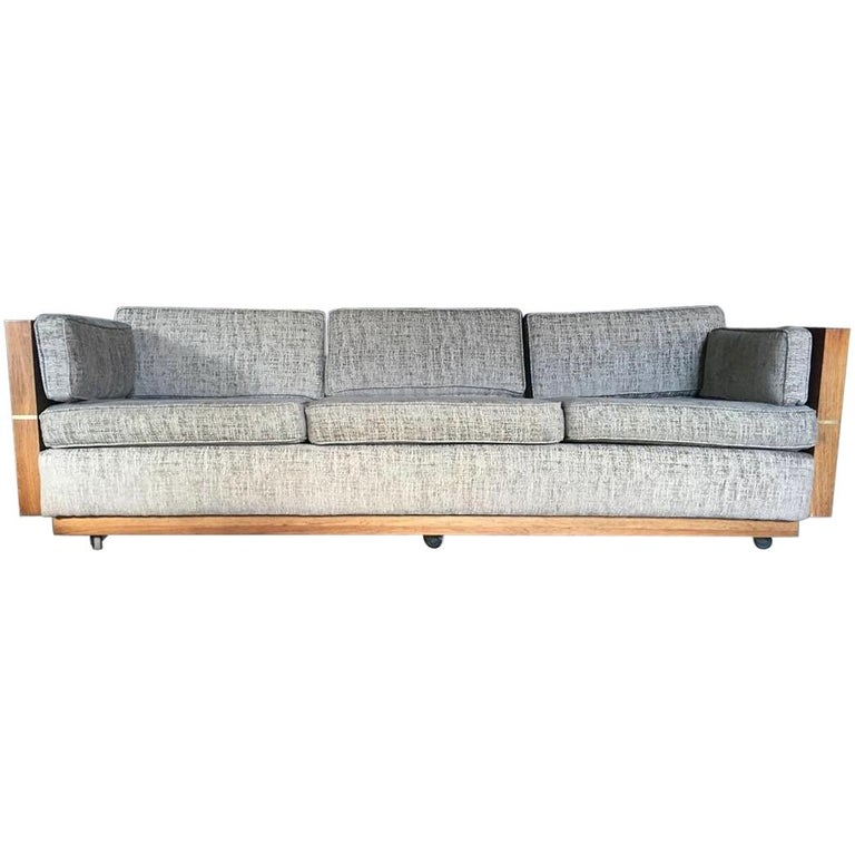 Milo Baughman Style Brass and Wood Case Sofa For Sale