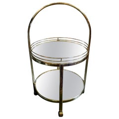 Milo Baughman Style Brass Bar Cart