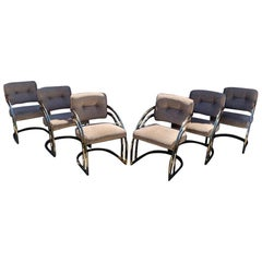 Milo Baughman Style Brass Cantiliver Dining Chairs, Set of 6