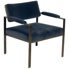 Milo Baughman Style Bronze Finish Lounge Chair