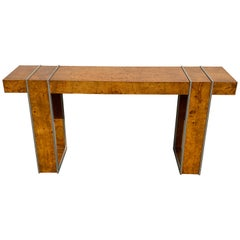 Milo Baughman Style Burl and Steel Console Table