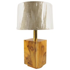 Milo Baughman Style Burl Wood and Brass Table Lamp