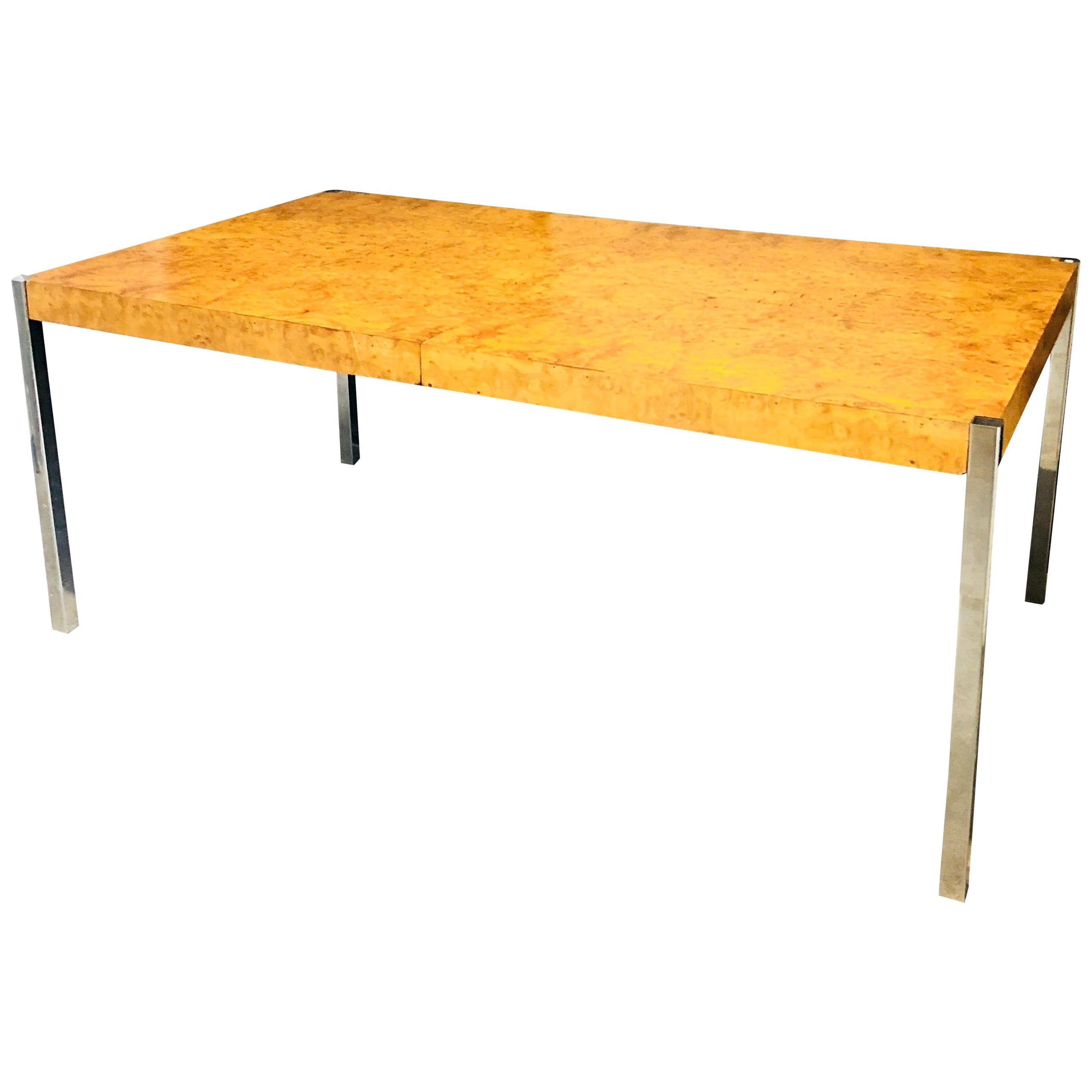 Milo Baughman Style Burl Wood and Chrome Dining Table or Writing Table