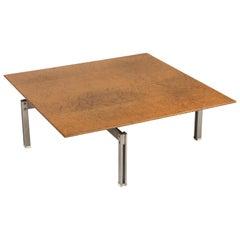 Milo Baughman Style Burl Wood Coffee Table with Steel Base