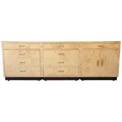 Milo Baughman Style Burl Wood Long Credenza or Bar Cabinet by Henredon
