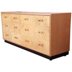 Milo Baughman Style Burl Wood Long Dresser or Credenza by Henredon, Refinished