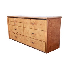 Milo Baughman Style Burl Wood Long Dresser or Credenza by Lane