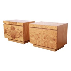 Milo Baughman Style Burl Wood Nightstands by Lane