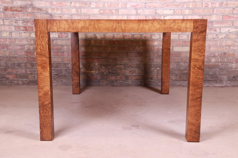 Milo Baughman Style Burl Wood Parsons Extension Dining Table by Lane, Refinished 4